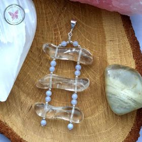 Clear Quartz & Blue Lace Agate Ladder Pendant